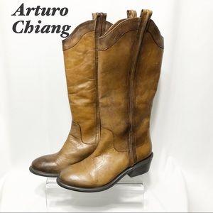 Arturo Chiang- Leather Tan Western Knee hi Boot 8